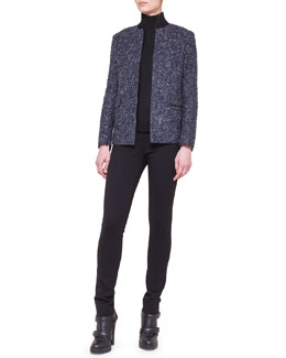 Akris punto Collarless Boucle Jacket, Two-Tone Turtleneck & Stretch Jersey Skinny Pants
