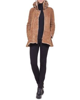 Akris punto Shearling Coat with Peplum and Detachable Hood & Dot-Detail Top