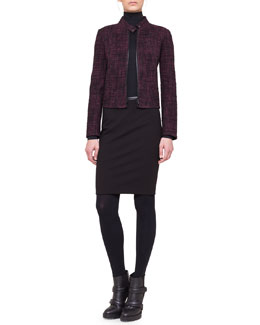 Akris punto Tweed Band-Collar Jacket and Stretch Jersey Skinny Pants
