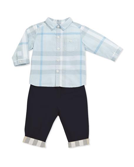 Burberry Newborn Button-Down Check Shirt, Light Blue