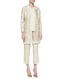 Neiman Marcus Long Embroidered Open Topper, Silk-Blend Tank & Tussah Silk-Blend Cropped Pants