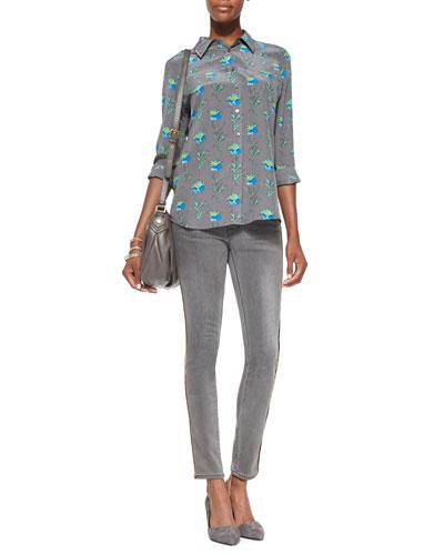 FRAME Brett Button-Down Floral-Print Blouse & Le Skinny Zip-Detail Jeans