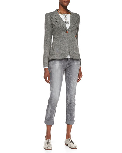 RtA Denim Duchess Tweed Elbow-Patch Blazer, Freestyle Ballet-Neck Jersey Top & Splash-Print Slim Boyfriend Jeans