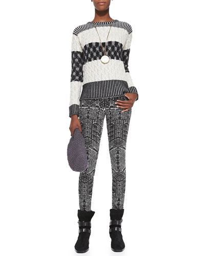 J Brand Jeans Callie Mixed-Pattern Striped Sweater & 620 Mid-Rise Kaleidoscope-Print Skinny Jeans