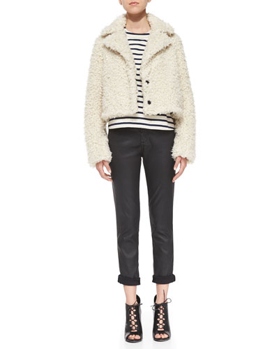 AG Adriano Goldschmied Faux-Fur Cropped Jacket, Jacquelyn Striped Round-Neck Top & Beau Leatherette Skinny-Leg Jeans
