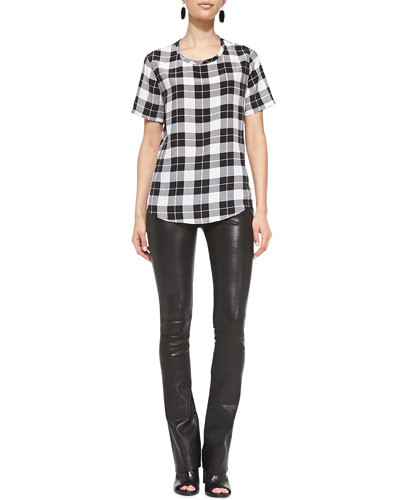 J Brand Jeans Riley Short-Sleeve Plaid Tee & Remy Lambskin High-Rise Pants