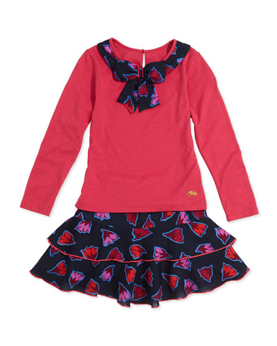 Little Marc Jacobs Girls' Bow-Collar Long-Sleeve Tee & Floral-Print Tiered Skirt