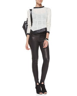 Hudson Lola Knit Combo Long-Sleeve Top & Juliette Leather Skinny Pants
