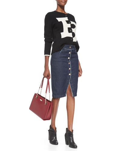 7 For All Mankind Broken B Knit Cardigan & Raw Edge Denim Skirt