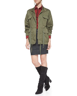 AG Adriano Goldschmied Twill Leisure Parka Jacket, Red Plaid Industrial Shirt & Kodie Coated Twill Skirt