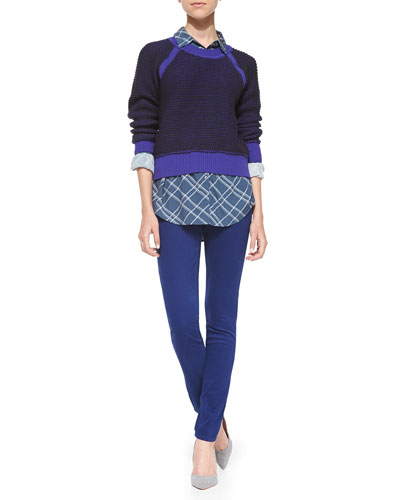 AG Adriano Goldschmied Contrast-Trim Knit Pullover Sweater, Onyx Plaid Button-Front Blouse & Prima Sateen Low-Rise Cigarette Jeans