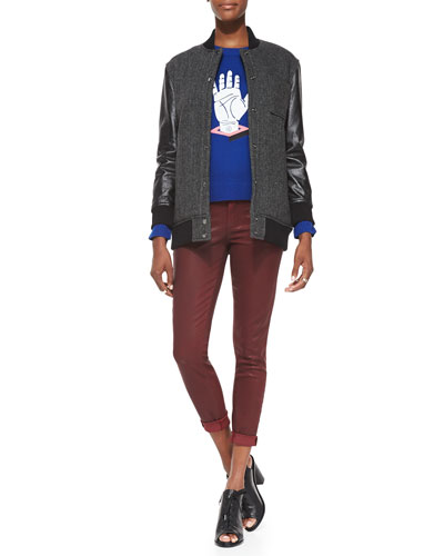 Paige Denim Stanwood Bomber Jacket, Hand-Print Relaxed Knit Sweater & Verdugo Coated Skinny Ankle Jeans