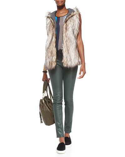 Clover Canyon Hope Knit/Faux-Fur Reversible Vest, Library Striped Jersey Sleeveless Top & Leather-Like Waxy Skinny Jeans