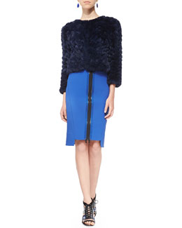 Alice + Olivia Marlene Zigzag Fur Jacket & Thea Zip-Front Pencil Skirt