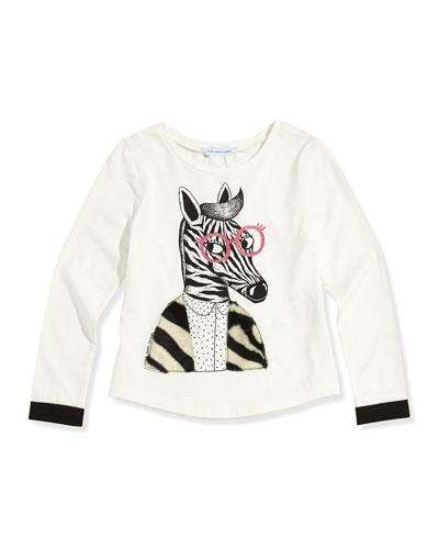 Little Marc Jacobs Girls' Zebra Printed Long-Sleeve Tee