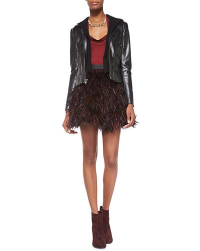 Bailey 44 Jib Knit/Faux-Leather Moto Jacket,  Cowl-Neck Silk Blouse & Cina Flared Feather Miniskirt