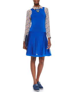 Trina Turk Fairfield Knit Jewel-Neck Dress & Reese Button-Down Wild Floral-Print Blouse