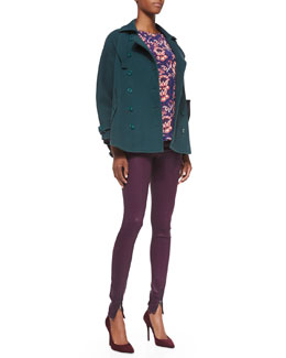 Rebecca Minkoff Pierre Double-Breasted Cape Coat, Long-Sleeve Seamed Combo-Print Blouse & Juliette Zip-Ankle Skinny Jeans
