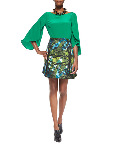 Milly Butterfly-Sleeve Silk Top & Greenwoods Printed A-Line Skirt