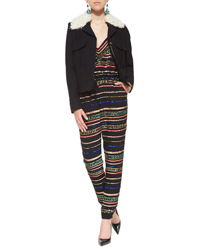 Mara Hoffman Zip Jacket w/Detachable Faux-Shearling Collar & Metallic/Sequined Jersey Jumpsuit