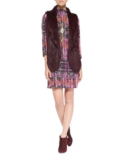 Joie Andoni Open-Front Fur Vest & Handloom Print Short Dress