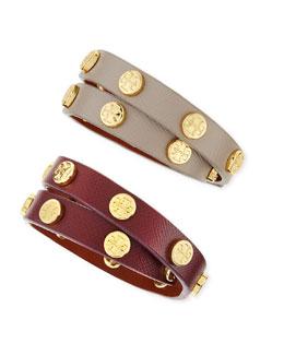 Tory Burch Logo-Studded Leather Wrap Bracelets