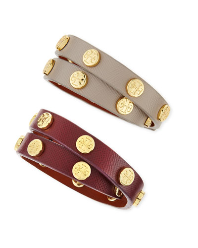 Tory Burch Logo-Studded Leather Wrap Bracelets