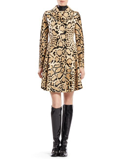 Gucci Leopard Print Calf Hair Coat & Silk Sleeveless Dress