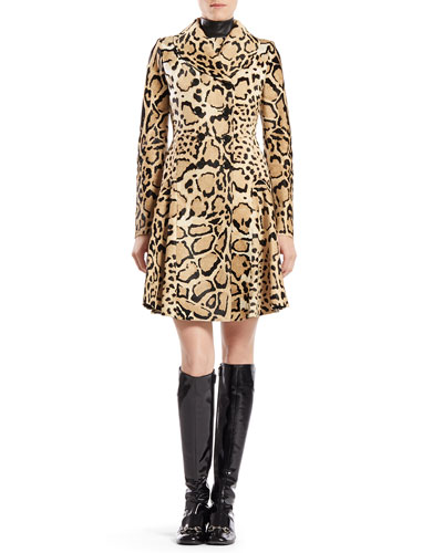 Gucci Leopard Print Calf Hair Coat & Silk Sleeveless Dress