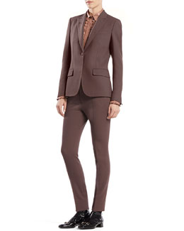 Gucci Stretch Wool Single-Button Jacket, Leather Ruffle Button-Down Shirt & Stretch Wool '60s Skinny Pants