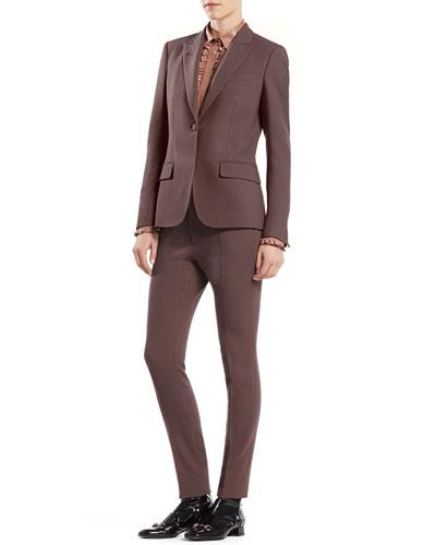 Gucci Stretch Wool Single-Button Jacket, Leather Ruffle Button-Down Shirt & Stretch Wool '60s Skinny Pants