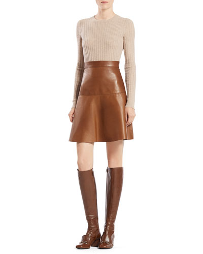 Gucci Cable Knit Crewneck Sweater & Leather Flared Skirt