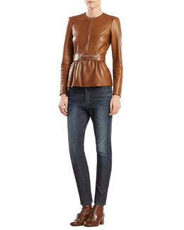 Gucci Belted Leather Jacket & Stretch Denim Boyfriend Pants