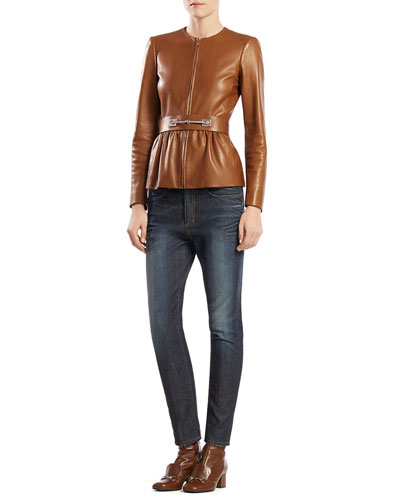 Gucci Belted Leather Jacket & Stretch Denim Boyfriend Pants