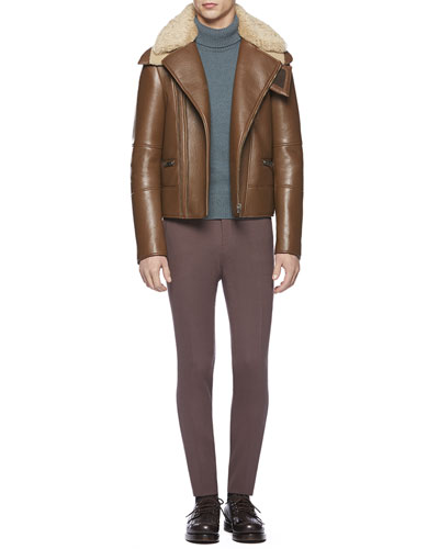 Gucci Leather Jacket with Shearling Fur Collar, Alpaca-Blend Turtleneck Sweater & Stretch Crepe Sharp Pants