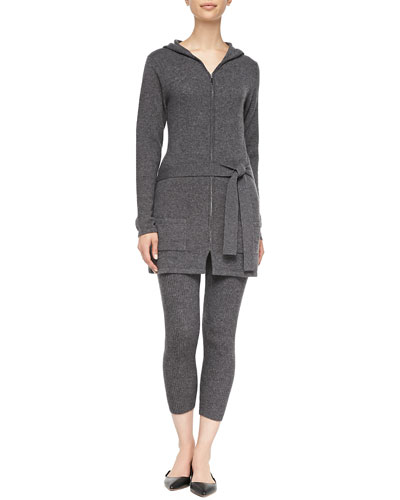 Neiman Marcus Cashmere Belted Zip-Front Cardigan & Ribbed Leggings