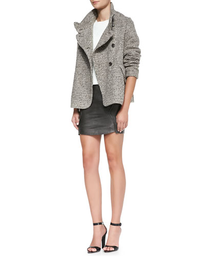O'2nd Honeycomb Mohair Jacket, Jacquard Knit Cropped Top & Leather/Jersey Panel Miniskirt