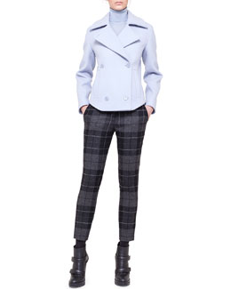 Akris punto Double-Breasted Short Jacket, Colorblock Sweater & Frankie Check Flannel Ankle Pants