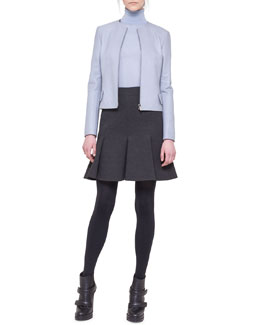 Akris punto Jewel-Neck Zip Leather Jacket and Jersey Flounce Pleat Skirt