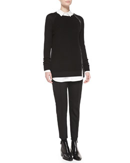Vince Leather-Trim Wool Sweater, Long-Sleeve Button-down Tunic & Pintuck Leather-Tab Pants