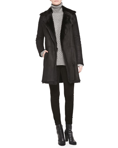 Vince Asymmetric Shearling Fur Coat, Cable Knit Turtleneck Sweater & Suede Mid-Rise Leggings