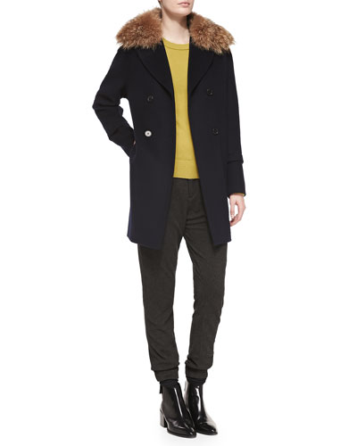 Vince Pea Coat with Detachable Fur Collar, Cashmere-Overlay Crewneck Sweater & Lambskin-Trim Relax Trousers,