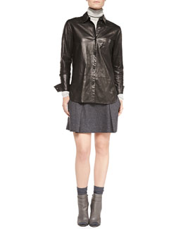 Vince Leather Button-Front Shirt, Ribbed Knit Turtleneck & Pleated Flared Wool Skirt
