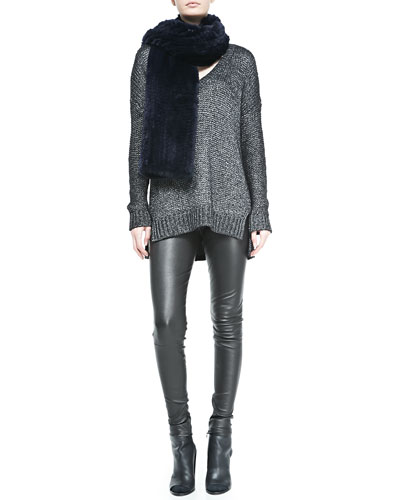 Vince Metallic V-Neck Knit Sweater, Rabbit Fur Scarf & Smooth-Front Leather Leggings