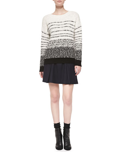 Vince Textured Stripe Knit Sweater & Pleated Flared Wool Skirt