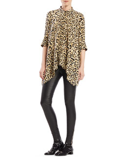 Gucci Leopard Print Silk Cape Shirt & Black Stretch Leather Leggings