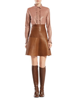 Gucci Leather Ruffle Button-Down Shirt & Leather Flared Skirt