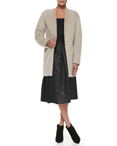 Tibi Long Mohair Cardigan with Leather Collar & Foret Pleated Jacquard Skirt