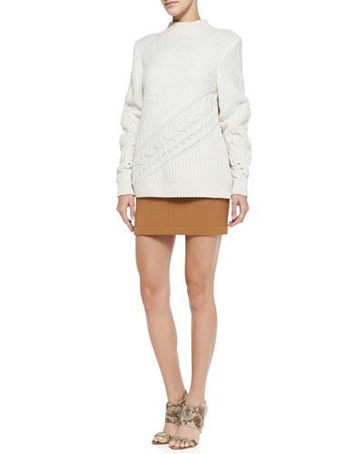 O'2nd Mixed-Knit Mock-Neck Sweater & Tuck-Stitch Knit Miniskirt