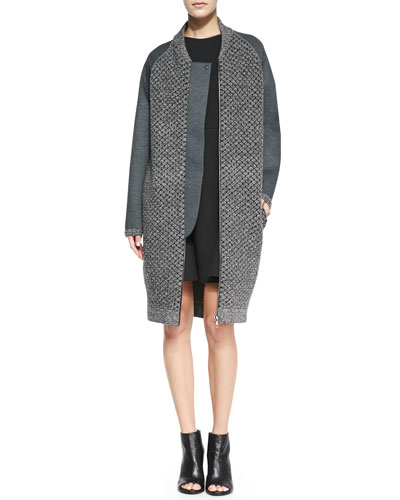 O'2nd Mixed-Knit Front-Zip Overcoat & Flare-Skirt Sleeveless Scuba Dress